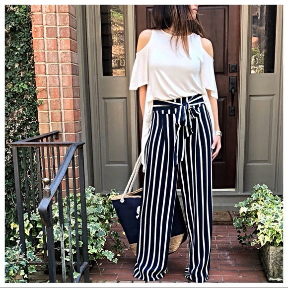 989d45d4e Wide leg navy and white striped palazzo pants